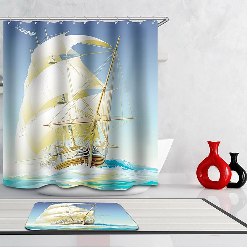Monily Polyester Waterproof Cartoon Ocean Sailboat Scenic Shower Curtain  Bathroom Curtains 12 Hooks Mildewproof Bath Curtain
