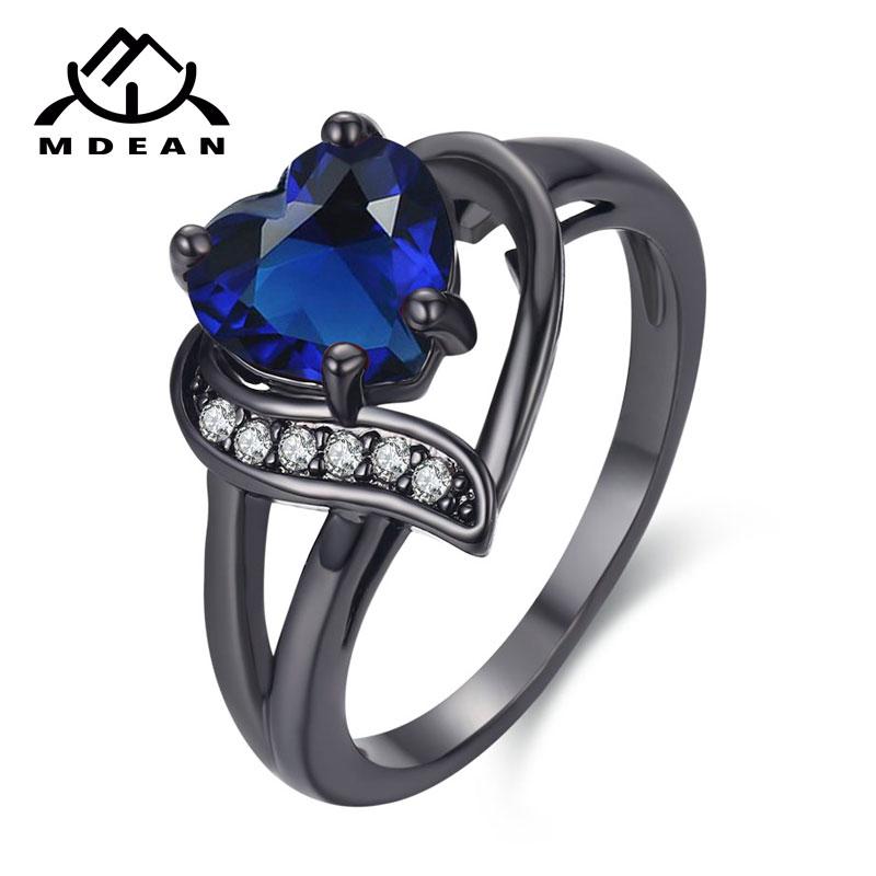 MDEAN белого золота Цвет обручальные кольца для Для женщин Bijoux сердце синий AAA изделия Bague Обручальное аксессуары Размеры 6 7 8 9 10 H524 ...