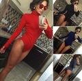 Moda Para Mujer Ladies Sexy Cuello Alto de Manga Larga Bodycon Slim Body Mameluco