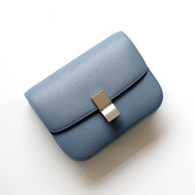 Women Bag Handbag Tofu-Bag Pink Crossbody Blue Factory Genuine-Leather Luxury-Design