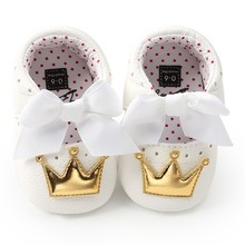 Baby Girls Shoes PU Cute Butterfly Crown Anti-slip Toddler S