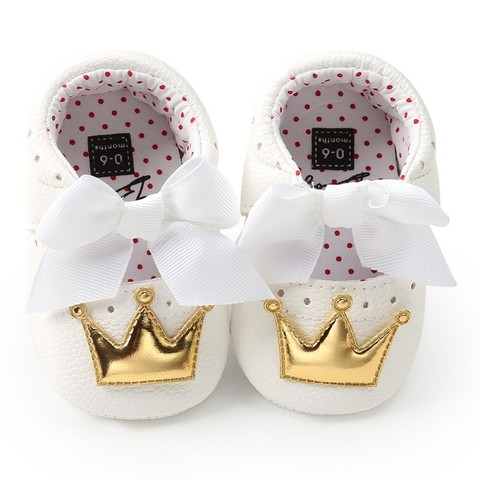 Baby Girls Shoes PU Cute Butterfly Crown Anti-slip Toddler Shoes Princess Baby Soft Soled Shoes Indoor Crib Shoes Pakistan