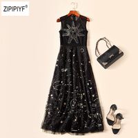 Luxurious Elegant Embroidery Galaxy Mesh Patchwork Sleeveless vestidos A Line Women Party Sequined Flare Swing Maxi Dress B1238
