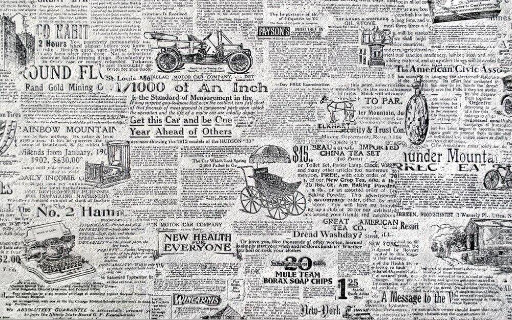 Tapete Zeitung dekoration wandbilder wallpaper retro schwarz und weiß zeitung