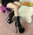 Штраф с 16 см высокие каблуки Зима новый танец Т наборы лакированной кожи короткие сапоги ботинки Женщин голые сапоги