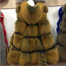 European British Style real Fox fur vests Frosted Color Natural fox fur waistcoats Gorgeous Luxury Winter Fur waiscoat