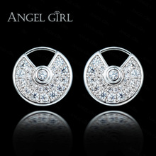 Angel Girl Silver Color Stud Earrings Round Shape Earrings For Women Wedding Jewelry Cubic Zirconia Crystal Fashion Accessories