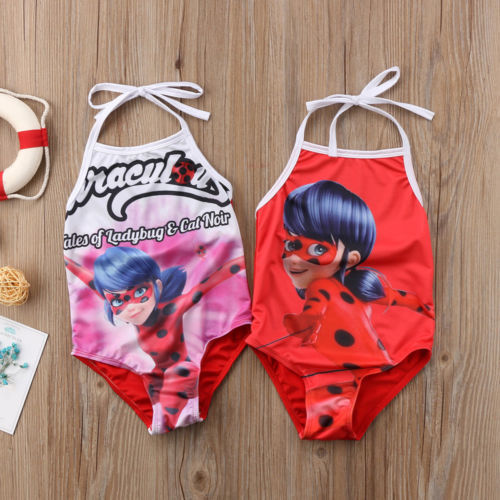 Miraculous Ladybug Swimwear Toddler Girl Kid Cartoon Ladybug Swimwear Swimsuit Bathers Beach Swimmer Costume