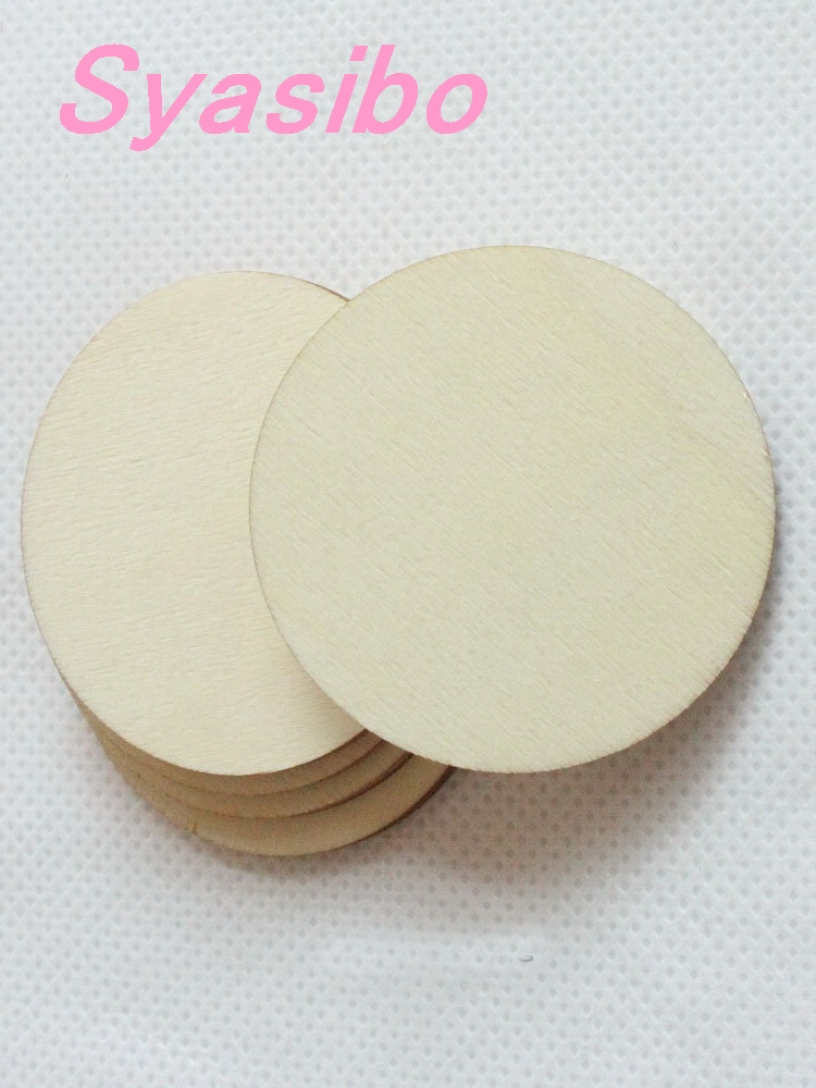 50Pcs DIY Natural Round Unfinished Wood Pendants Wooden Circles 30//40//50mm