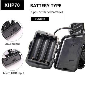 Image 3 - مصباح XHP70.2 XHP50.2 Led قوي كشافات التكبير رئيس مصباح يدوي الشعلة 18650 بطارية USB قابلة للشحن الصيد فانوس