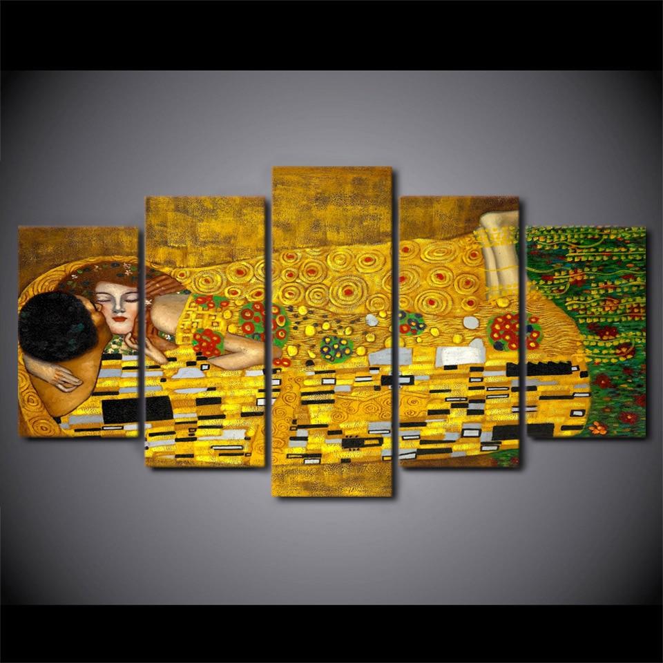 5 unids/set enmarcado HD impreso Gustav Klimt beso artwroks cartel ...