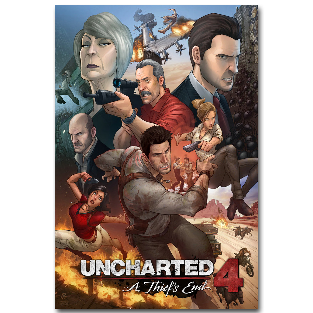 Uncharted 4 A Thiefs End Art Silk Fabric Poster 13x20 24x36inch
