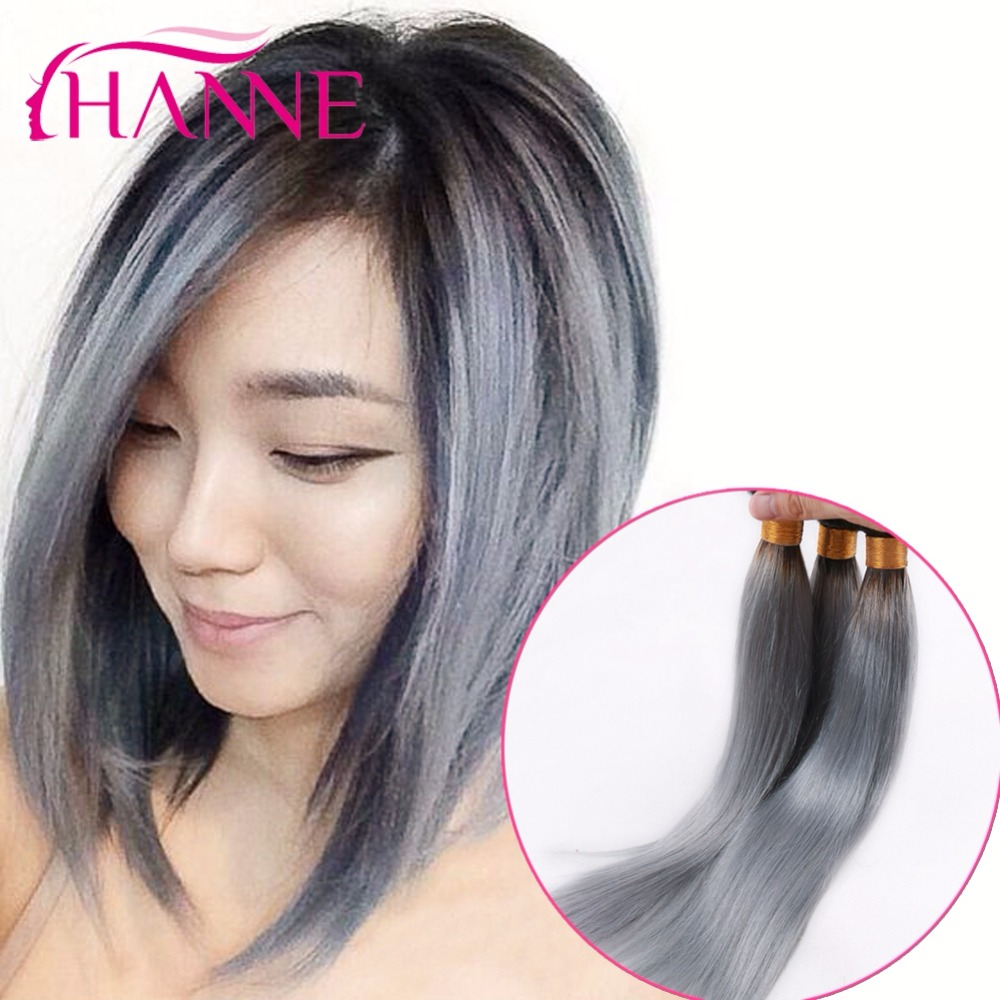 Dark Root Ombre Ash Grey Color Human Hair Extenions 3 4pcs Peruvian Virgin Straight Hanne Products Fast Free Shipping On Aliexpress Alibaba