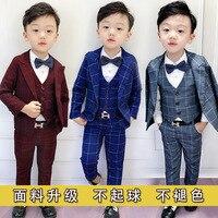 Han edition boys wedding cloth children baby costumes show small boy's suit Plaid kids clothes Regular boy clothes ALI 316