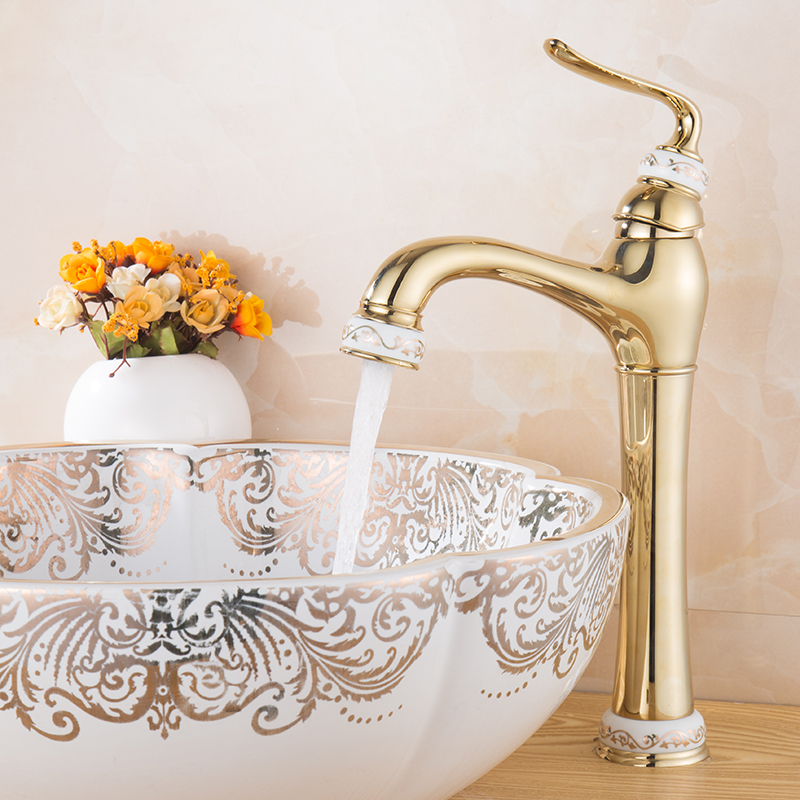 Contemporary Bath Gold Taps Single Lever Deck Mounted Sphere Bathroom Single Faucets Basin Robinet Water Tap flg multiple choices bath mat gold bathroom faucets deck mounted bird robinet cold