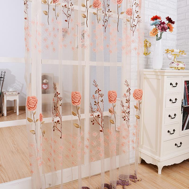 New Floral Voile Sheer Panel Beads Tassel Window Door Curtain(China  (Mainland))