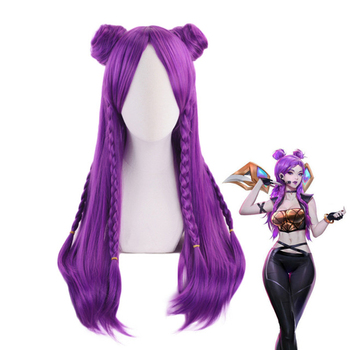 K/DA Kaisa Long Purple Braid Wig With Bun Cosplay Costume KDA Kai'Sa Women Heat Resistant Synthetic Hair Party Role Play Wigs image