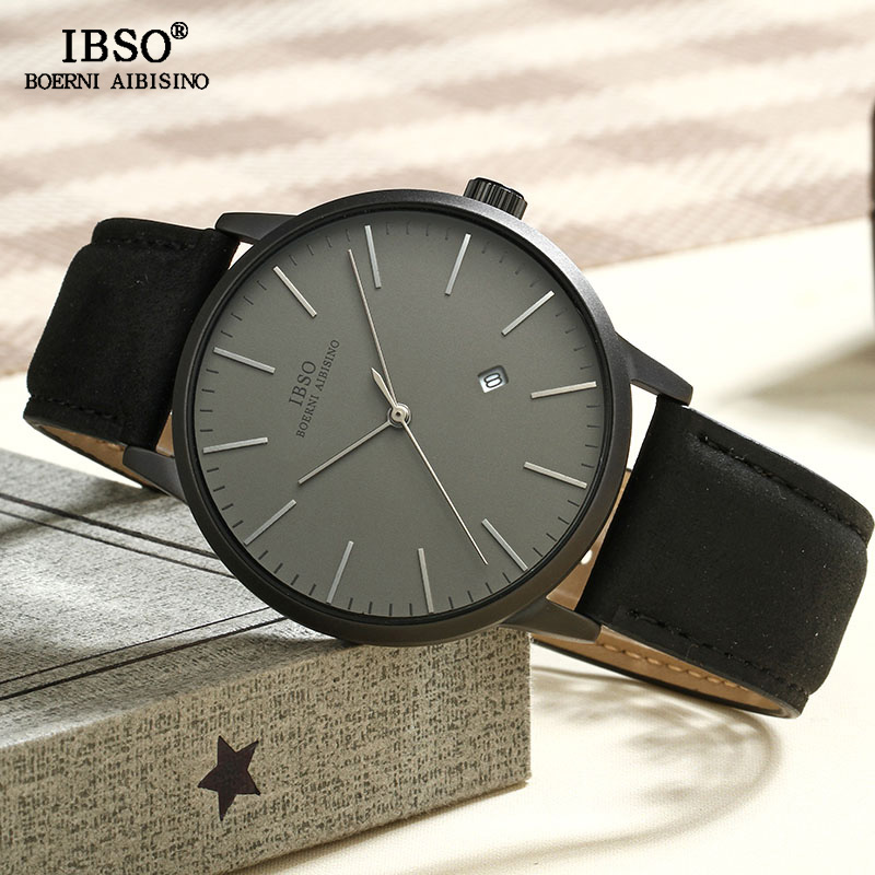 IBSO Brand Simple Quartz Watch Men Reloj Hombre 2018 Fashion Men Wrist Watches Leather Strap Luxury Male Clock Relogio Masculino