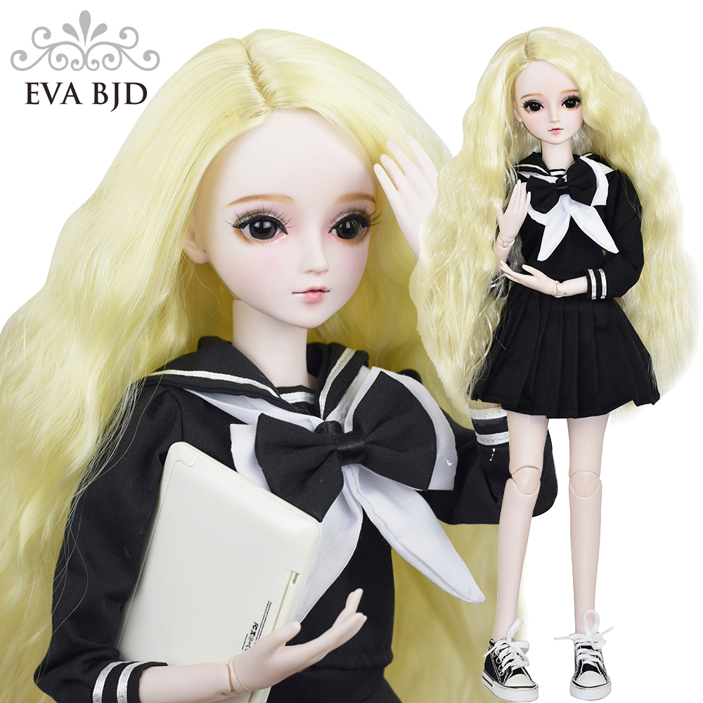 22 BJD Full Set + Makeup Handmade EVA BJD School Girl 1/3 BJD Doll SD Doll jointed dolls + Accessories Cake Doll Toy Model кукла bjd 88 dk 1 3 bjd sd jerome
