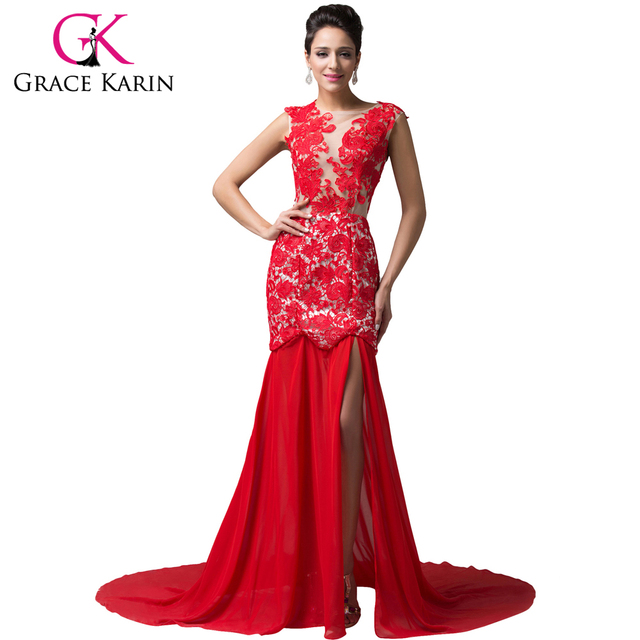 Grace Karin Royal Long Red Lace Evening Dresses Formal Chiffon Night ...
