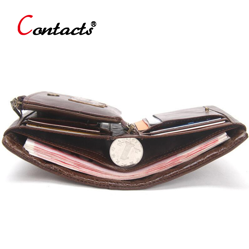 CONTACT'S Genuine Leather Men Wallet Short Purse Hollow Multifunction fashion Coin Purse Male Credit ID Card Holder Wallet men men wallet male cowhide genuine leather purse money clutch card holder coin short crazy horse photo fashion 2017 male wallets