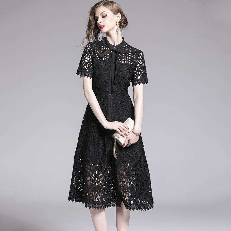 Elegant White Black Lace Hollow Out Dress 3