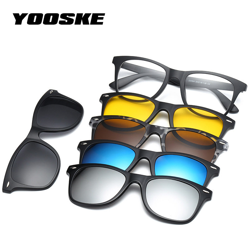 YOOSKE Fashion Optical Spectacle Frame <font><b>Men</b></font> Women <font><b>Magnetic</b></font> <font><b>Sunglasses</b></font> Polarized For Male Myopia Eyeglasses with <font><b>5</b></font> <font><b>Clip</b></font> <font><b>On</b></font> Glasses image