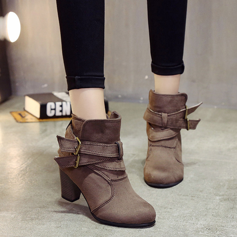 COOTELILI Suede Boots Casual-Shoes High-Heels Girls Female Fashion Woman Mujer Ankle