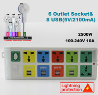 6 Outlet Power Socket & 8 usb protected socket with EU UK US universal power strip