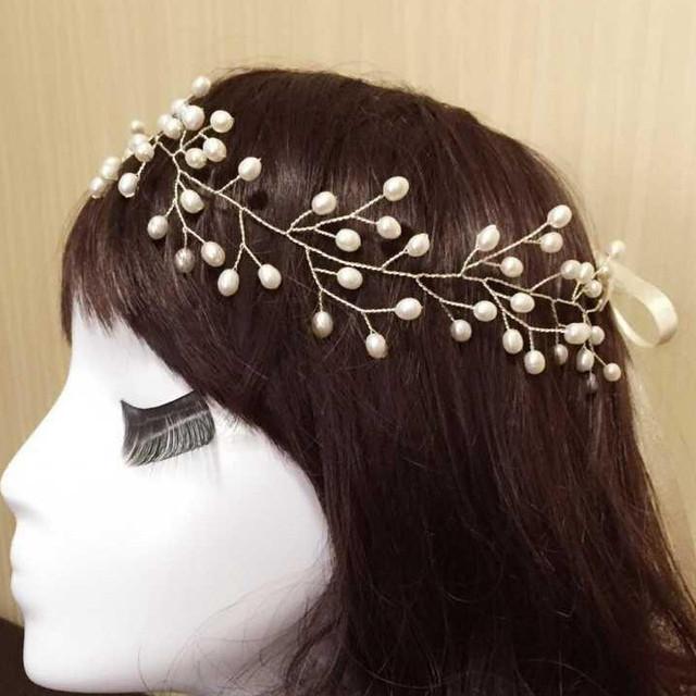 2015 venda nova chegada cabeça da noiva do casamento chapéus dobrável flexível de água doce pérolas flor acessórios de cabelo