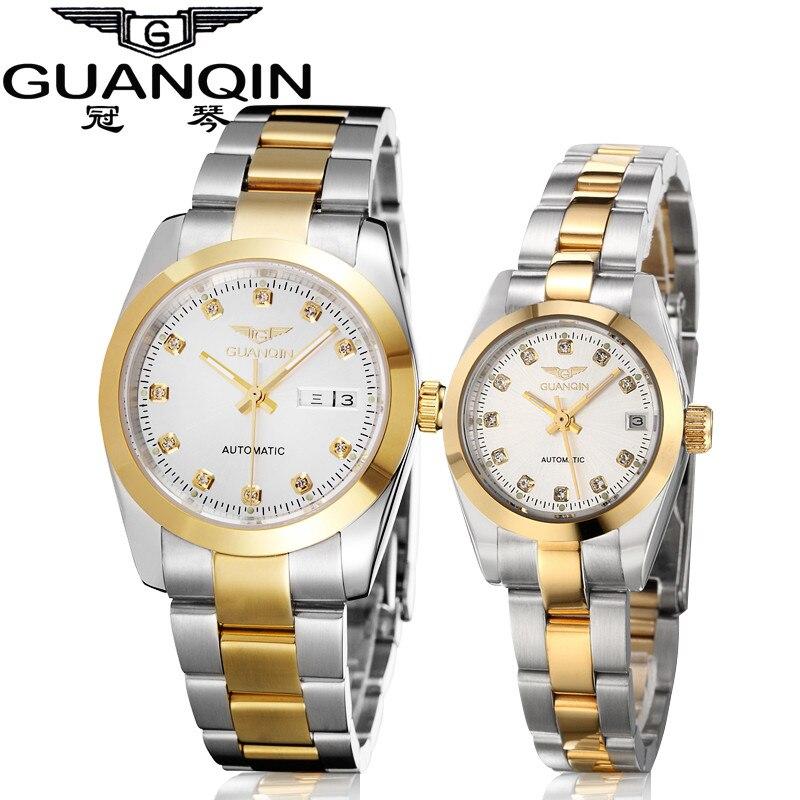 GUANQIN Gold Paar Uhr Männer Mechanische Uhr Leucht Kalender Woche Wasserdicht Strass Automatische Liebhaber Uhren - 2