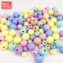 mamihome 400Pcs 12 20mm Candy Color Wooden Beads BPA Free Food Grade DIY Making Necklace Bracelet Accessories Baby Teether