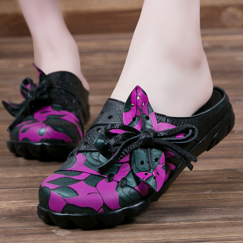 Hot selling,New 2017 Spring/Summer,Women ethnic style genuine leather slippers,Bowknot hollow flower flat heel slippers