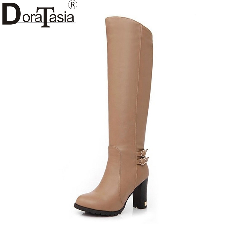 DoraTasia Big size 34-43 Women Knee Boots Square High Heel Shoes Woman Round Toe Platform Buckle Footwear Autumn Winter Boots doratasia big size 34 43 women half knee high boots vintage flat heels warm winter fur shoes round toe platform snow boots