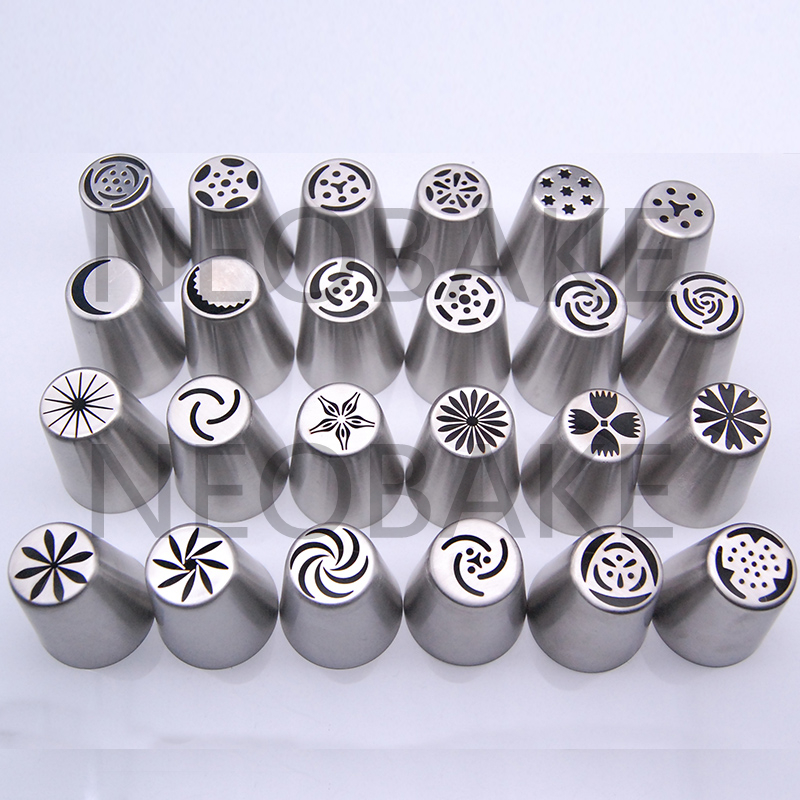24PCS Stainless Steel Russian Tulip Icing Piping Nozzles Pastry Decorating Tips Cake Cupcake Decorator Rose Cake tools