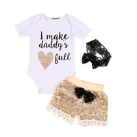 Summer Baby Girls Newborn Cute Letters Printed Romper+Sequin Pants+Headband Outfits 3 Pcs Clothes Set