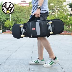 Image 2 - MACKAR 30x23x4cm bolsas para monopatín 1000D Cordura Nylon camuflaje Skate mochilas 900D polieter Oxford negro doble bolsa de balancín