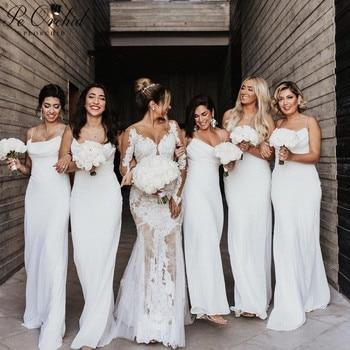 PEORCHID Beautiful White Mermaid Bridesmaid Dress Long Vestido De Damas De Honor Wedding Party For Woman Formal Gowns 2019