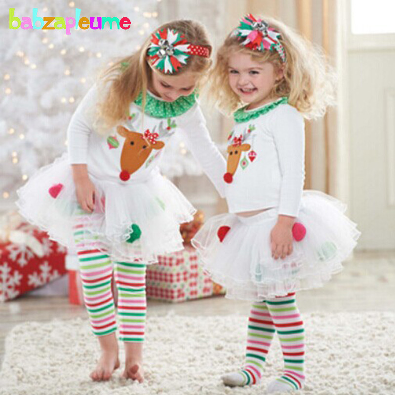 2PCS/0-5Years/Christmas Baby Girls Clothing Sets Cartoon Cute T-shirt+Stripe Pants Costu ...