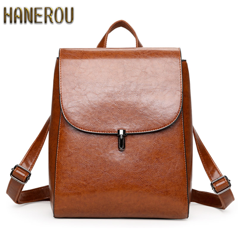 2019 PU Læder Kvinder Rygsæk Fashion Travel Back Packs High Quality Rygsække Til Teenage Girls Black Casual Travel School Bag