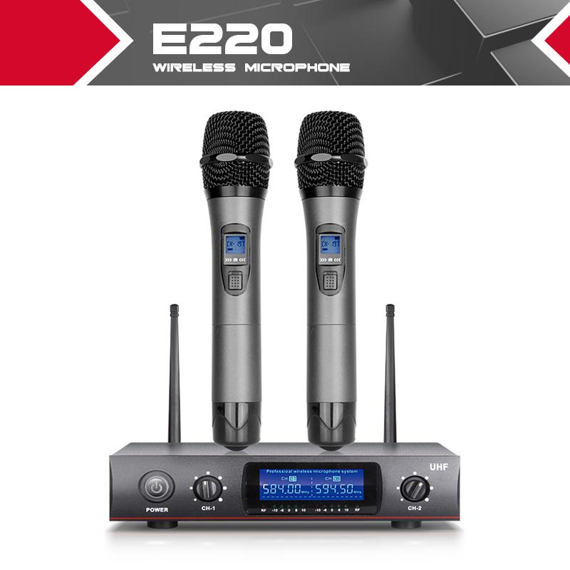 Prix pour En Métal ensemble FCC fréquence 500-700 750-850 LED FUSÉE E220 2 Canal UHF De Poche Sans Fil Microphone Système pour la Scène Karaoké