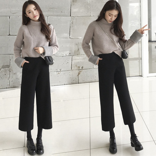 Autumn And Winter Fashion Two Piece Set Turtleneck Black Wide Leg Pants Suit Women Twinset Women's Clothing