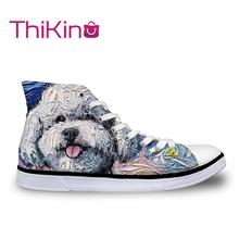 Thikin Van Gogh's Galaxy High Top Canvas Casual Shoes for Teenager Popular Women Dog Pattern Sneaker Lovers