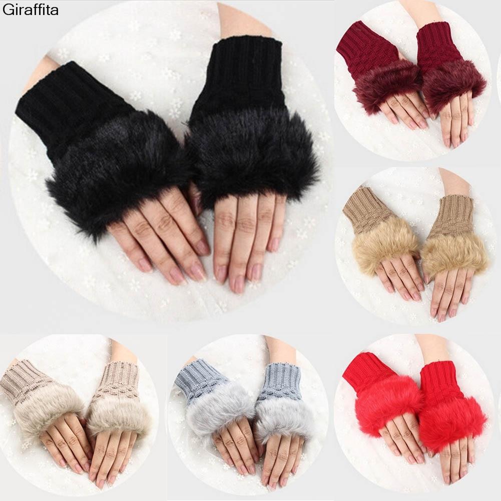 Fashion Winter Women Gloves Plush Faux Fur Knitting Wool Keep Warm Short Mitten Fingerless Lady Girl Half Finger Glove