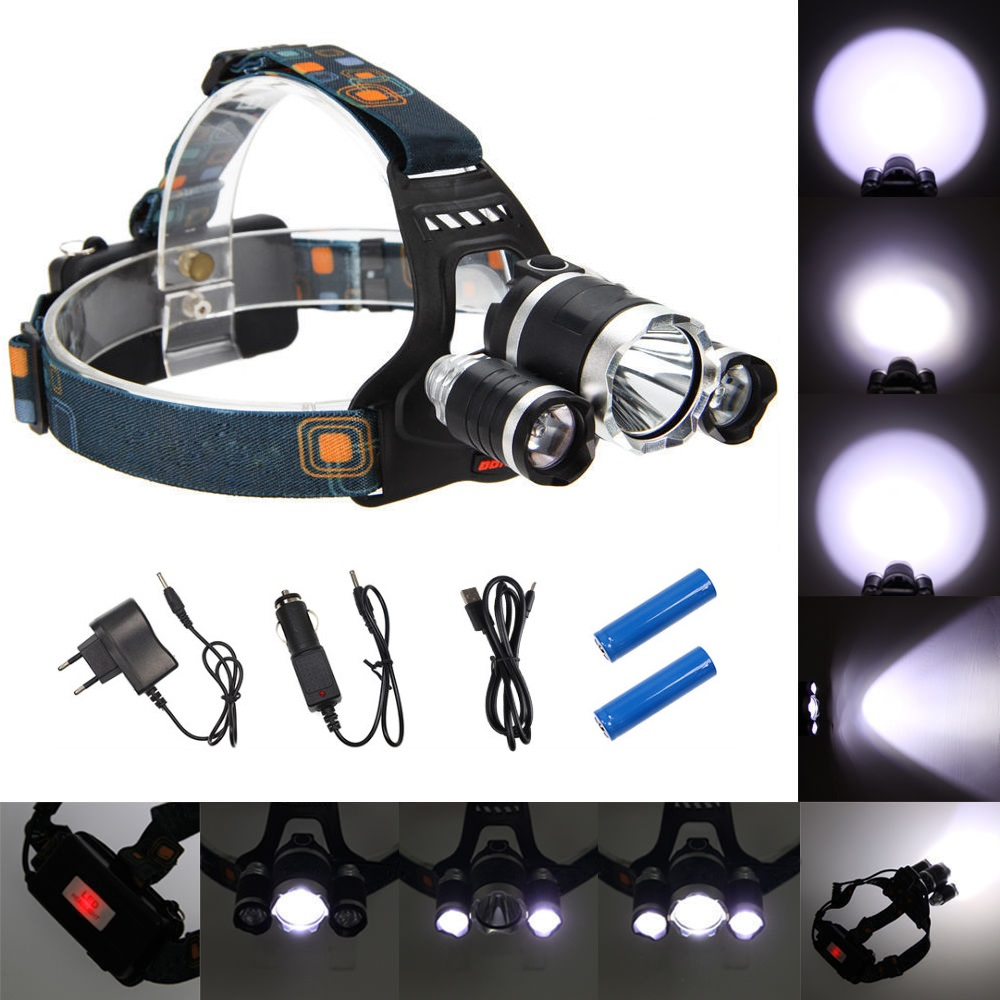 10000LM Headlight Led Rechargeable headlamp Waterproof head lamp T6 Camping Fishing flashlight 18650 battery+USB/AC/Car Charger