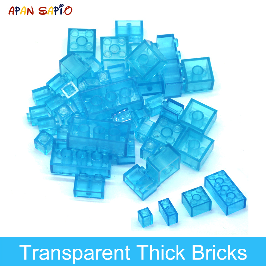 DIY Building Blocks Thick Transparent Figures Bricks Educational Creative Toys for Children Gifts Size Compatible With Brand