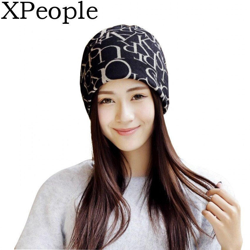 XPeople Ponytail Beanie for Women Hip-Hop Soft Cotton Slouchy Stretch Beanie Hat Skull Cap Letter cap