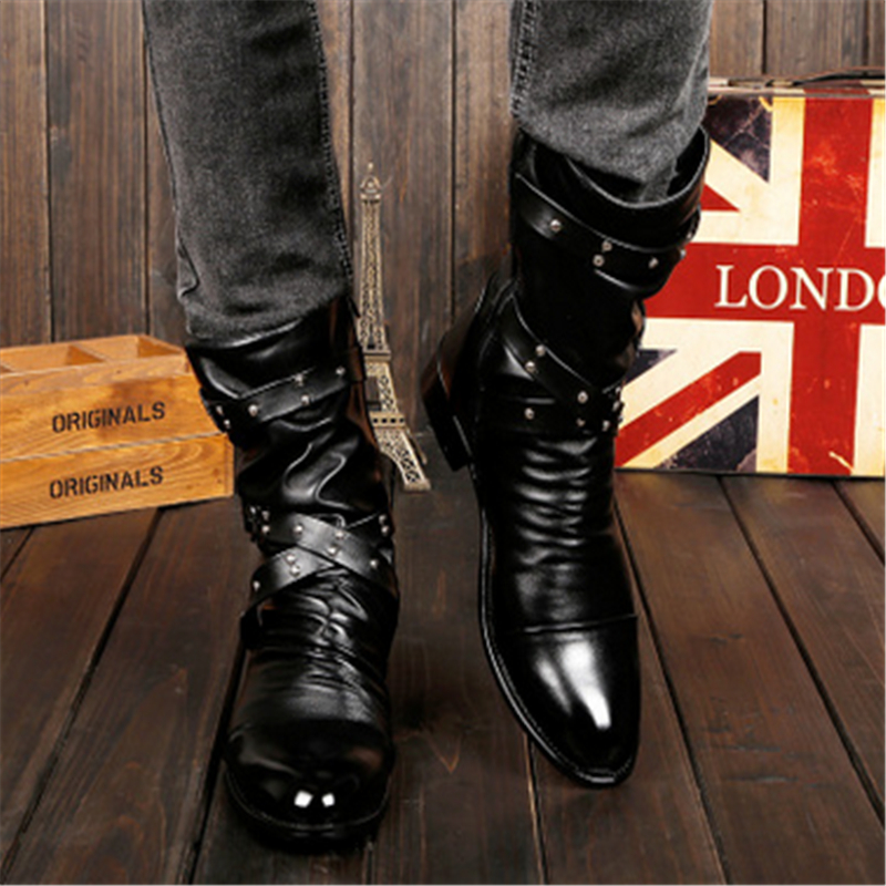 2016 fashion style of British men Martin boots black winter boots  men's brand antiskid outdoor shoes size 37-44