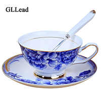 GLLead Chinese Style Blue And White Porcelain Tea Cup And Saucer Top Grade Ceramic Coffee Cups China Celadon Teacup Set