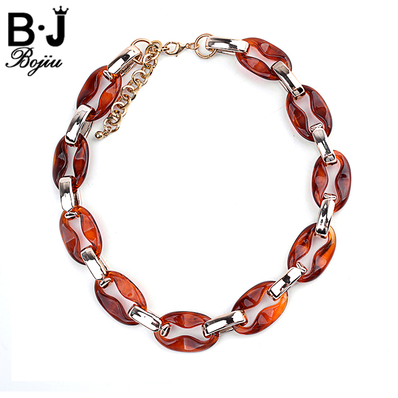BOJIU Exquisite Women Chain Necklace Noble Resin Choker Necklace Lady Extended Chain Charm Link Accessories Party Jewelry NKS073